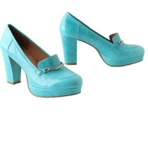 Anthropologie Lucky Penny Block Heel Loafers Teal